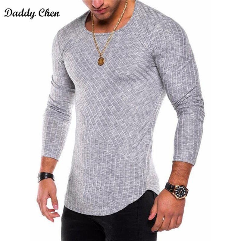 Men's t-shirts striped tee shirt <font><b>homme</b></font> summer Oversized Arc Hem long sleeve t shirt men hip hop tshirt streetwear slim fit xxxl