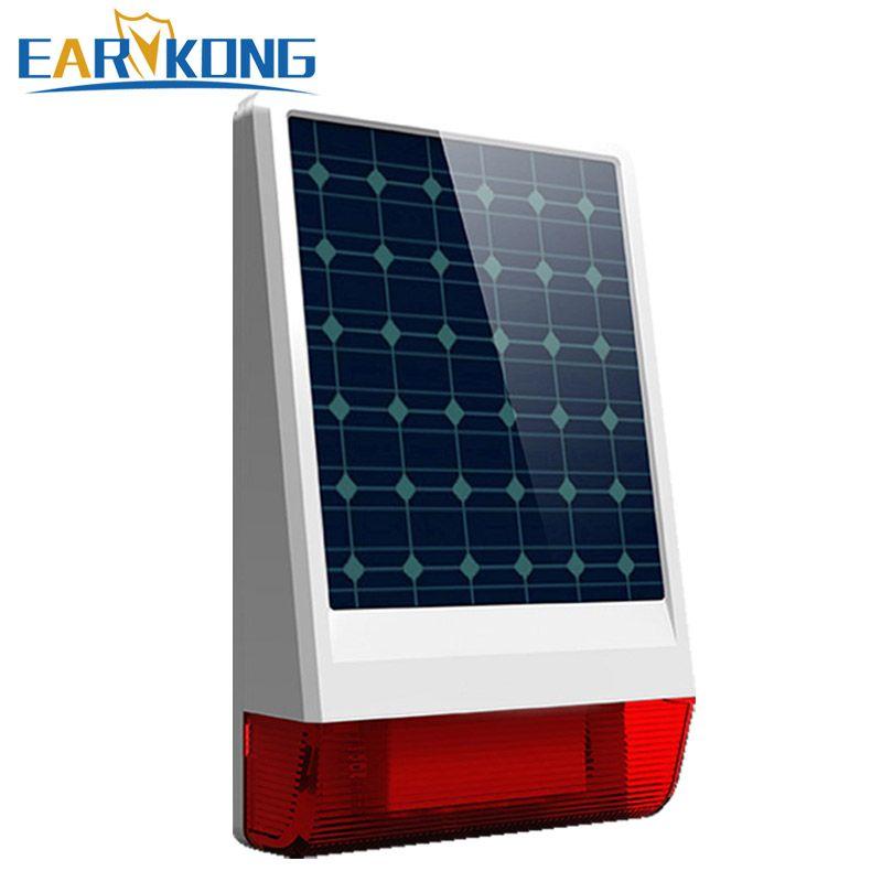 2019 neue Freies Verschiffen Solar Drahtlose Sirene Flash 110dB Nur Für Unsere Alarm System 315 MHz umfassen Batterie Beliebte alle die welt