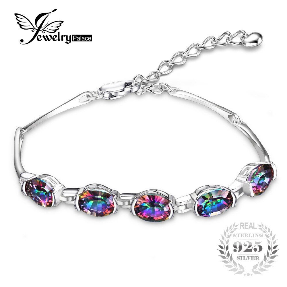 JewelryPalace Luxury Fashion 6ct Concave Oval Genuine mystic Rainbow Topaz <font><b>Bracelet</b></font> 925 Silver Jewelry <font><b>Bracelets</b></font> For Women Gifts