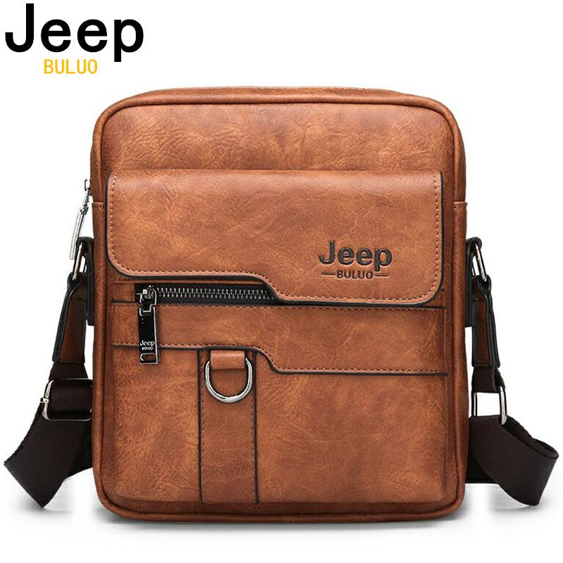 JEEP BULUO marque de luxe hommes Messenger sacs bandoulière affaires sac à main décontracté mâle Spliter cuir sac à bandoulière grande capacité