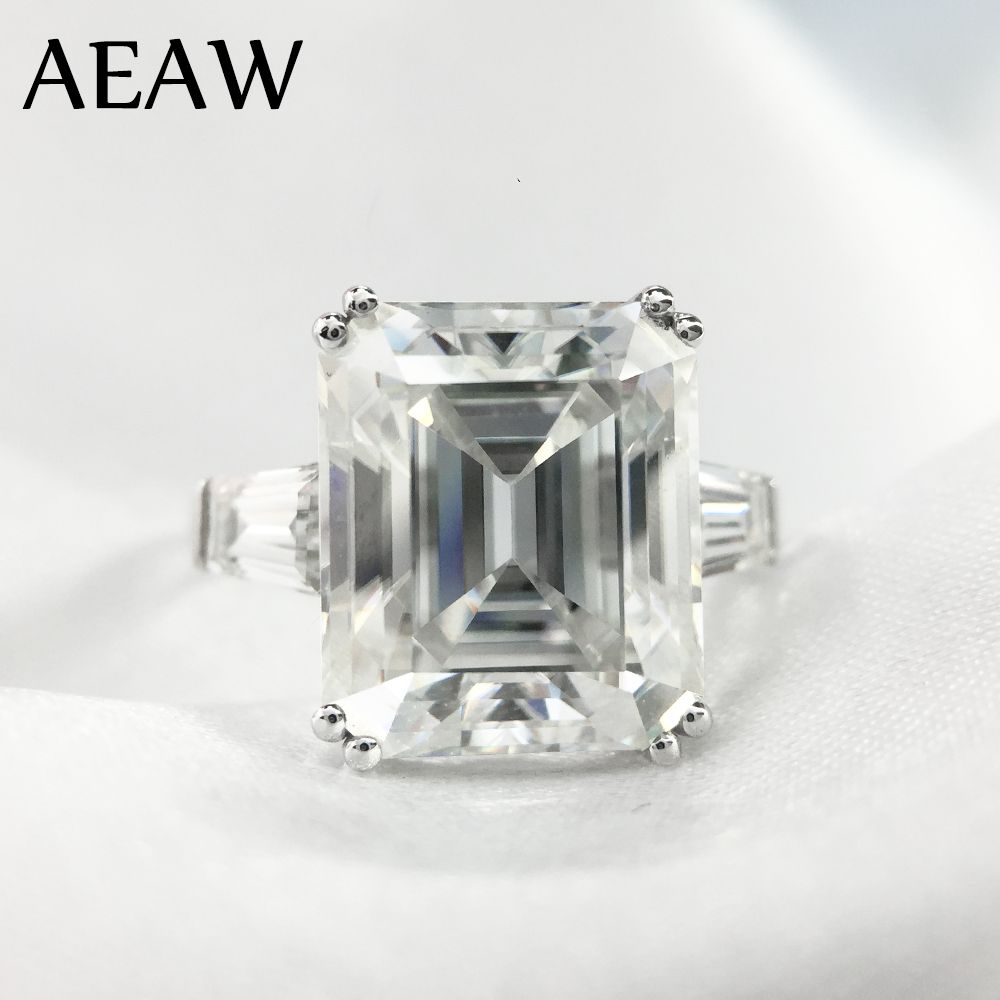 5 Carat ct 9x11mm DF Grade Smaragd Cut Engagement & Hochzeit Moissanite Labor Diamant baguette Ring Echte 14 karat 585 Weiß Gold