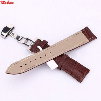 18mm/20mm/22mm/24mm Watch Band Strap Butterfly Pattern Deployant Clasp Buckle+ Leather