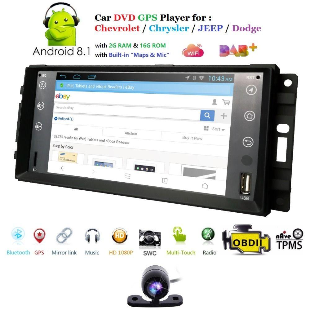 Neue 7 Inch Android 8.1 Auto Stereo Für Jeep Grand Cherokee Chevrolet Kommandant Dodge Chrysler 300C Player DVR TPMS TUPFEN Freies kamera