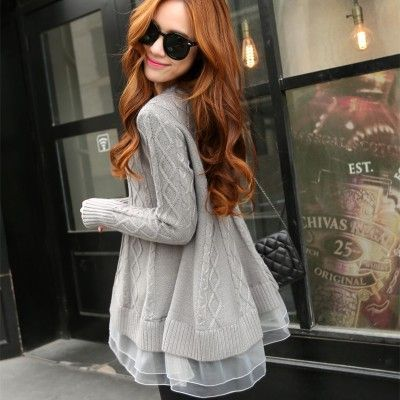 <font><b>2016</b></font> Spring Korean Style Women's Long Thin O-neck Base Loose Sweater Lace Jacket