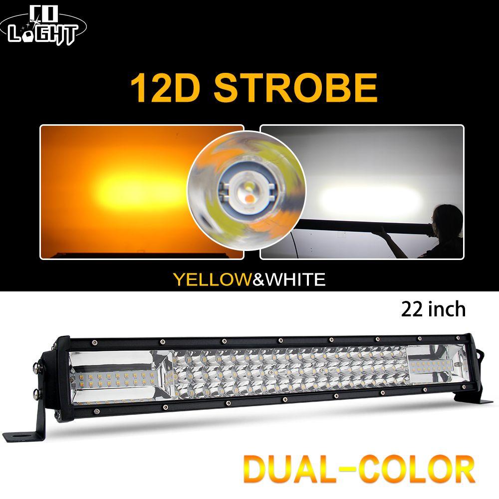 CO LICHT 22 zoll 12D LED Bar Offroad 270 W 3-Reihe LED Arbeit Licht Strobe Licht Bar für auto Traktor 4x4 Lkw Jeep ATV 6500 K 3000 K