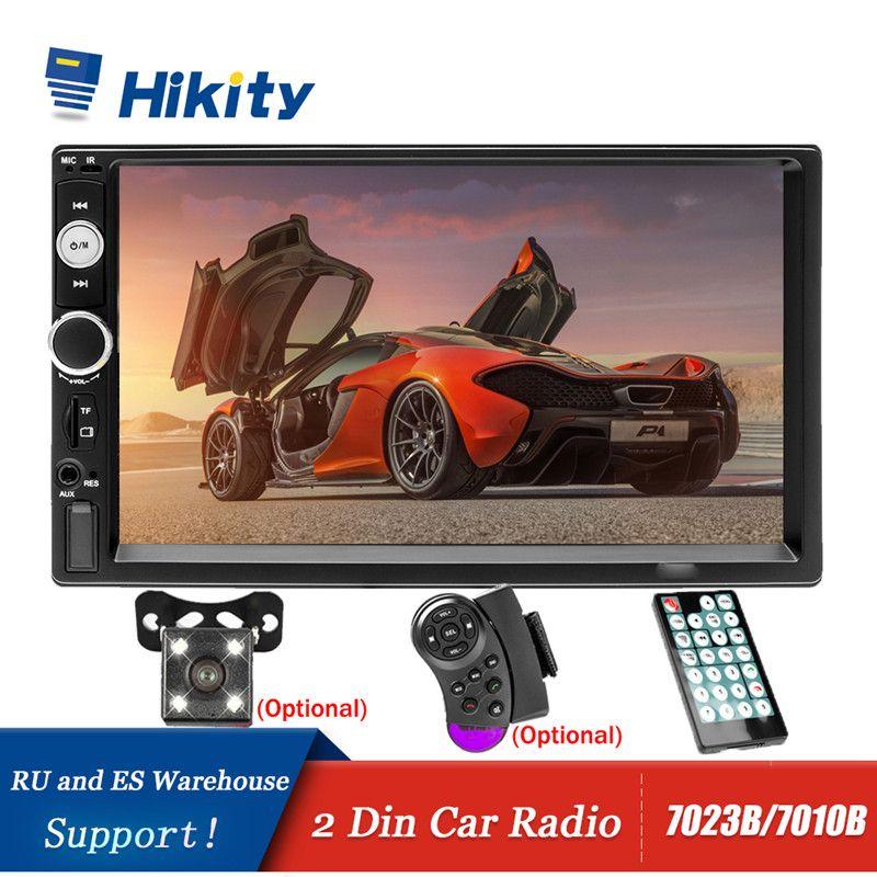 Hikity autoradio lecteur miroir lien autoradio 2 din 7 ''LCD écran tactile voiture stéréo MP5 Bluetooth auto stéréo caméra de recul