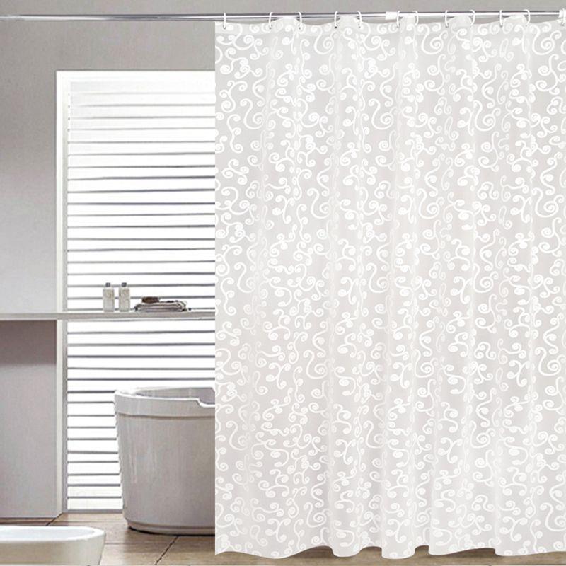 Simple rideau de bain Blanc Géométrique Imprimé Protection PEVA rideaux de douche En Plastique Moule Imperméable À L'eau Preuve Salle De Bains Produits