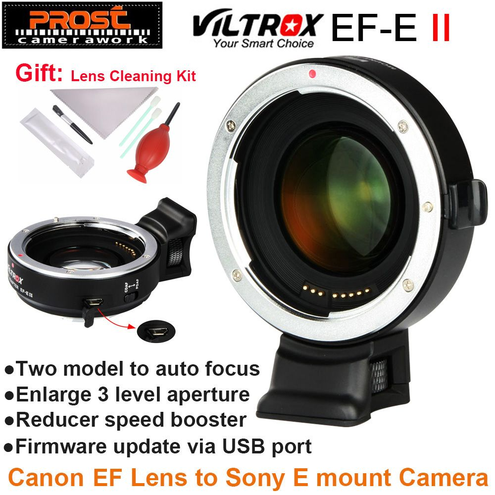 Viltrox EF-E II Auto Focus Reducer Speed Booster Lens Adapter for Canon EF Lens to Sony NEX E Camera A9 A7 A7R A7SII A6500 NEX-7