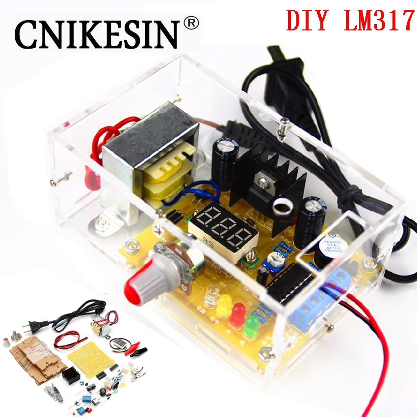 CNIKESIN DIY Kit LM317 Adjustable <font><b>Regulated</b></font> Voltage 220V to 1.25V-12.5V Step-down Power Supply Module PCB Board Electronic kits