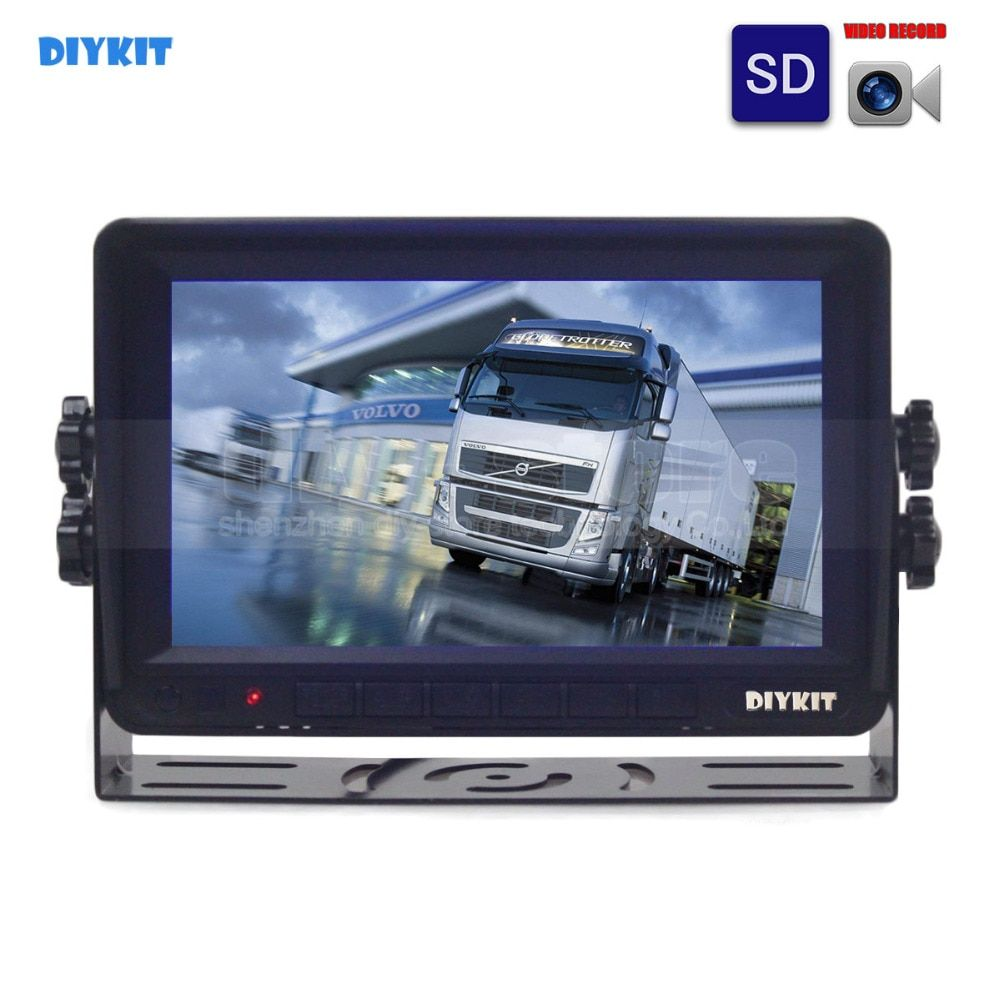 DIYKIT AHD 7inch TFT LCD Car Monitor Rear View Monitor Support 1300000 Pixels AHD Camera Support SD Card Video Recording