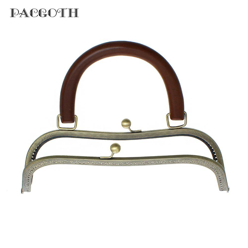 PACGOTH Fer Alliage Baiser Fermoir Serrure Bourse Cadre Arc Antique Bronze Café Manche En Bois 26 cm x 18.5 cm, ouvrir Taille: 27x26 cm, 1 PC