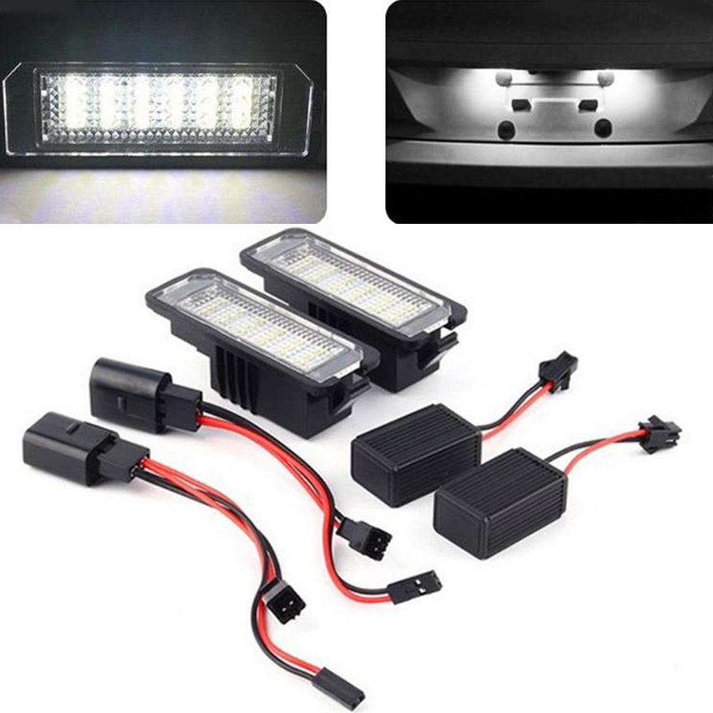 2Pcs 12V LED Number License Plate Light Lamps for VW GOLF 4 5 6 7 Polo 6R Car Exterior Accessories License Plate Lights Quality