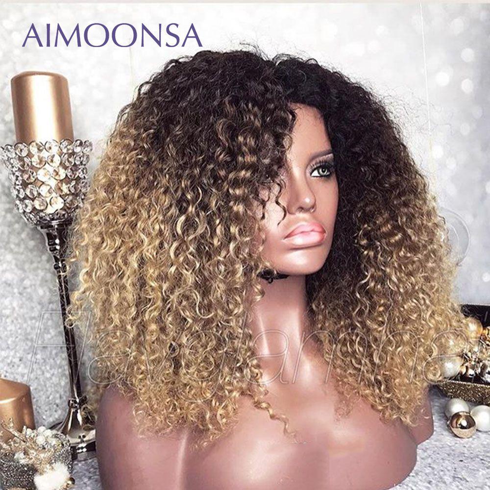 Perruque frisée Afro mongole 13x6 Ombre perruque cheveux humains 250 densité couleur dentelle avant perruques ligne de cheveux naturelle Remy Aimoonsa