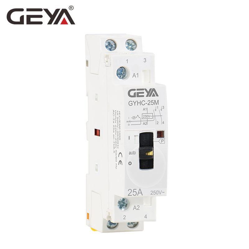 GEYA GYHC Modular Contactor 2P 16A 20A 25A 2NO or 2NC 220V Manual Control Household Contactor Din Rail Type