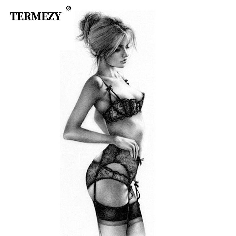 TERMEZY nouvelle grande taille femmes sexy soutien-gorge ensemble intimes broderie demi-tasse lingerie mince tentation et culotte avec jarretelles ensembles