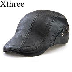 Xthree Musim Semi Topi Tiruan Kulit Baret Topi Casquette untuk Pria Matahari Topi Gorras Planas Datar topi PU