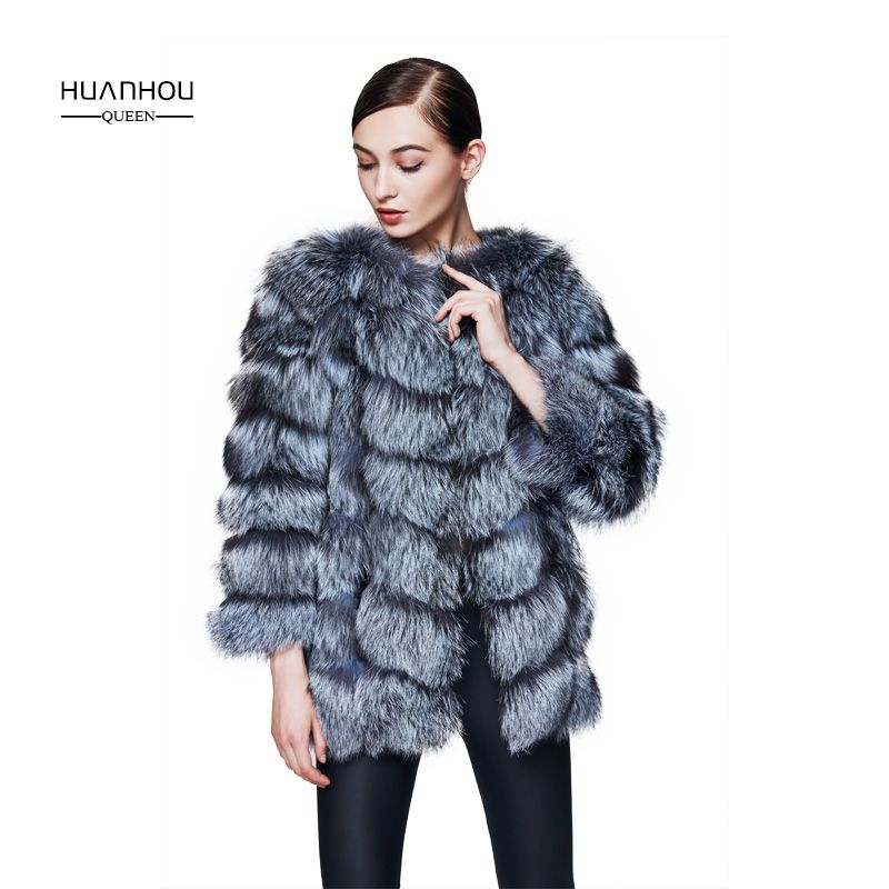 Huanhou queen real nature silver fox coat for women's,with can removable sleeves,warm slim fashion coat.