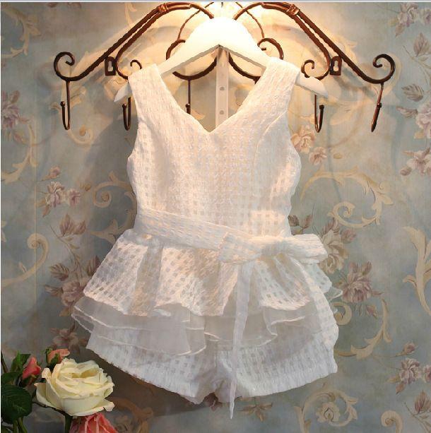 Bosudhsou V1 livraison gratuite Détail Nouvelles Filles Vêtements D'été De Mode Enfants de Gilets Ensemble Costume 2 ~ 6 ans enfants Vêtements