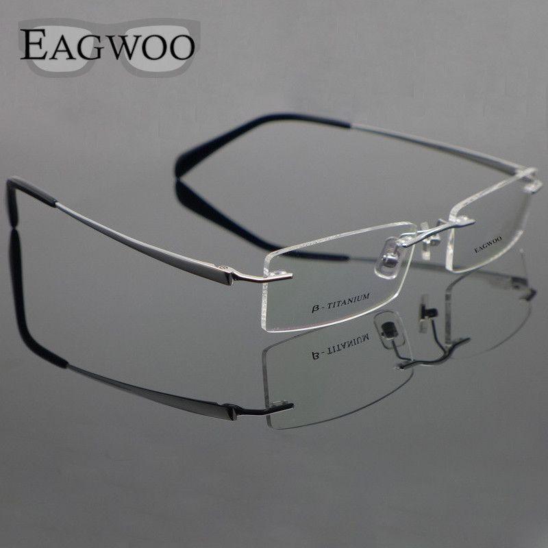 Lunettes en titane pur sans monture optique monture Prescription lunettes sans cadre pour hommes lunettes de vue 11090 Temple mince