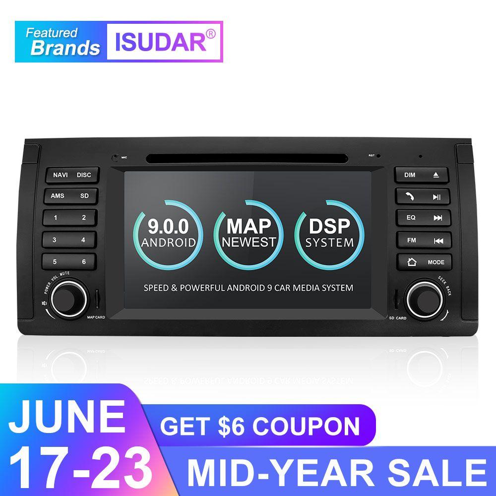 Isudar Auto Multimedia player Android 9 GPS Din DVD-Spieler Für BMW E39 5 Serie M5 2 GB RAM 16 GB ROM Wifi Radio Spiegel Link