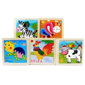 Kids Toys Cartoon Lovely Animal/Vehicle/Farm/Ocean Jigsaw Puzzle Wooden Toy Preschool Early Educational Learning for Children