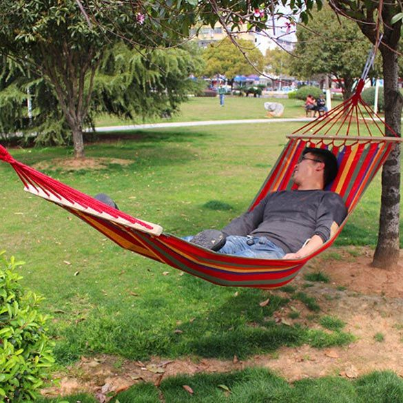 200x 80 cm Prevent Rollover Hammock Double Spreader Canvas Hammocks Bar Garden Camping Swing Hanging Bed Blue Red