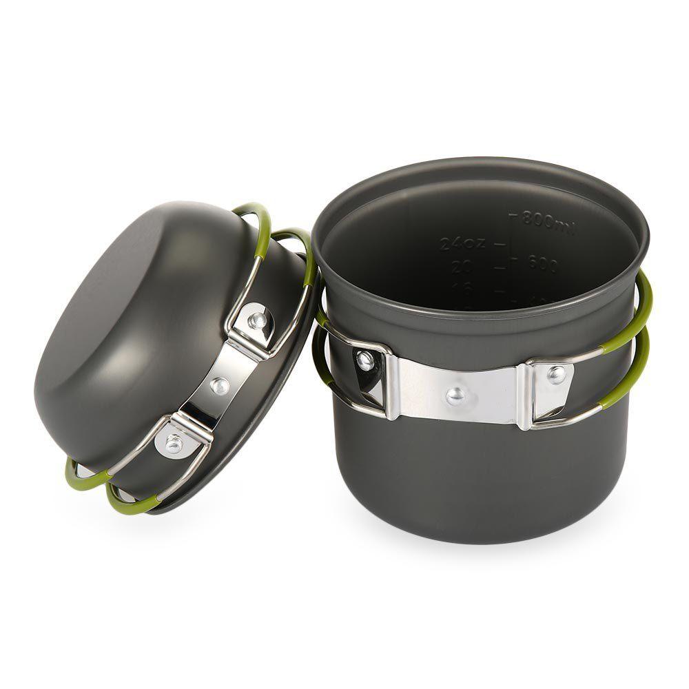 1L Pot extérieur + bol en aluminium vaisselle ustensiles de cuisine pour Camping randonnée pique-nique escalade Survaval cuisinière ensemble avec poignée pliante