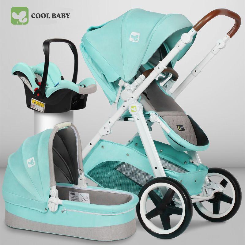 Kühlen baby 3 in 1 kinderwagen marke hohe qualität neugeborenen baby zwei-weg suspension hoch landschaft kinderwagen baby vier rad trolley