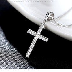 Hot Sale Silver Cross Necklace Pendant Fashion Elegant Sterling-silver-jewelry For Women Girls Choker Necklace collier femme