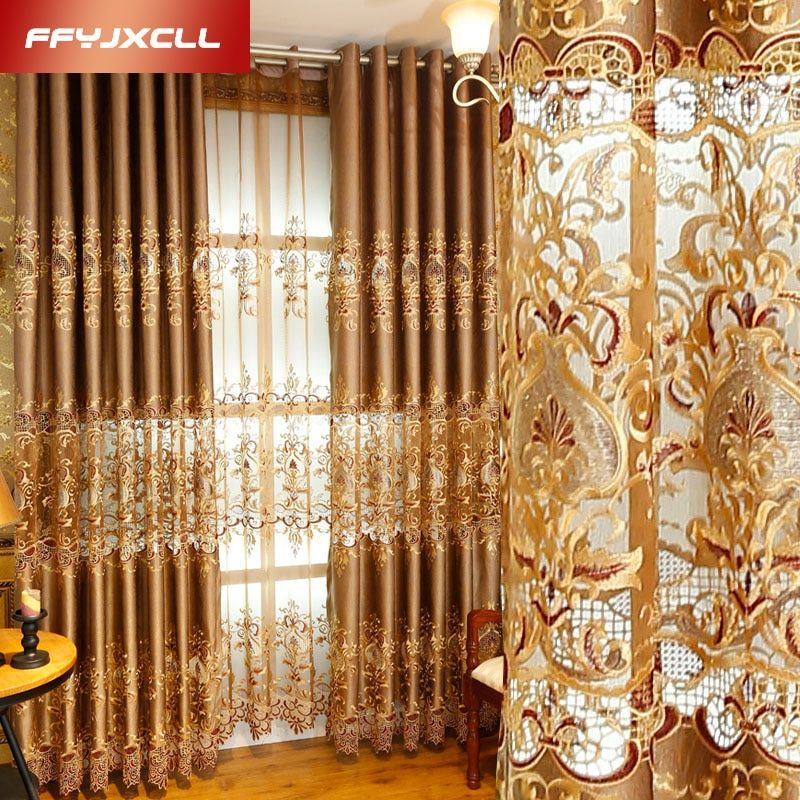 Semi-ombrage De Luxe Europe Brodé Floral Rideau Fenêtre Pour salon Chambre Tulle Traitement Rideaux Décor À La Maison