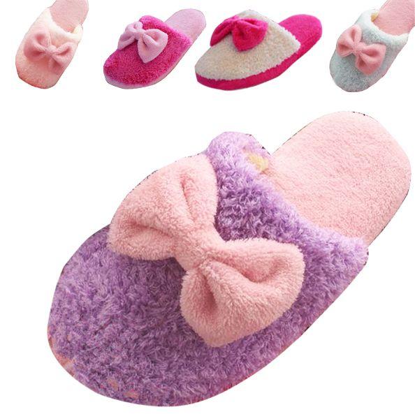 Mujeres Lindas de invierno Zapatillas de Algodón Encantadora Rosette Señoras Zapatillas de Casa Caliente Antideslizante Zapatos de Interior