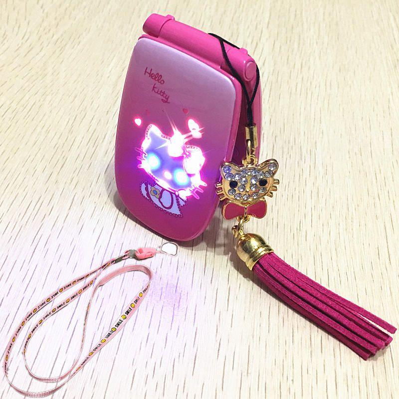 2 battery Hello Kitty Flip Cell Phone W88 Luxury Music Flash Light Mini Girl Lady Children Kids Mobile Phone H-mobile W88