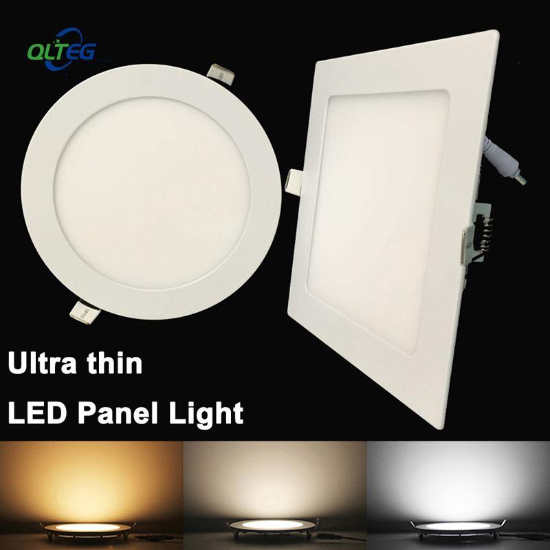 Ultradünne LED-Panel Downlight 3 Watt 6 Watt 9 Watt 12W15W 18 Watt runde/Quadratische LED Deckeneinbauleuchte AC85-265V LED-Panel Licht birne