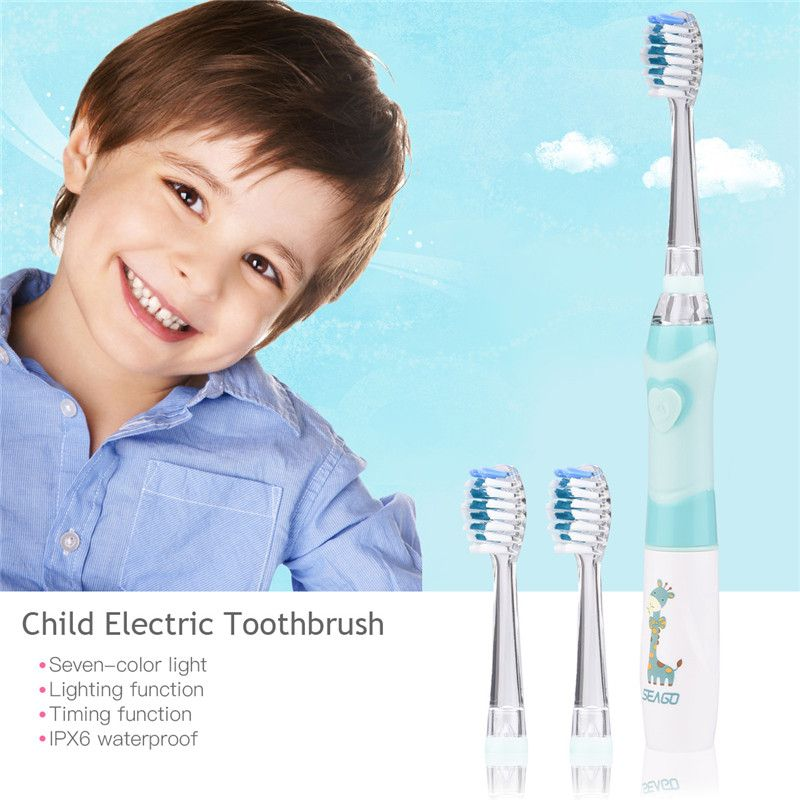 Child's Electronic Toothbrush Waterproof Kid Toothbrush Soft Vibration Timing Function Infant Toothbrush with Led Light