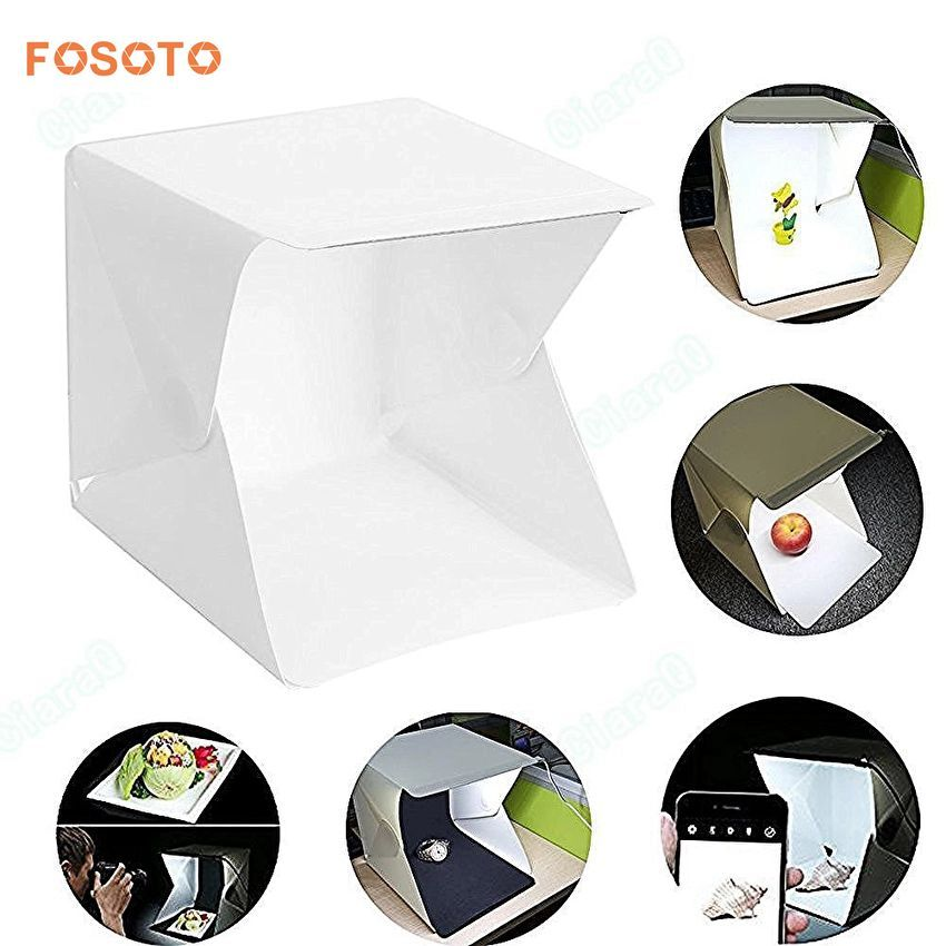 fosoto Folding Photography Studio Box lightbox Softbox LED Light box for iPhone Samsang HTC Smartphone Digital DSLR Camera