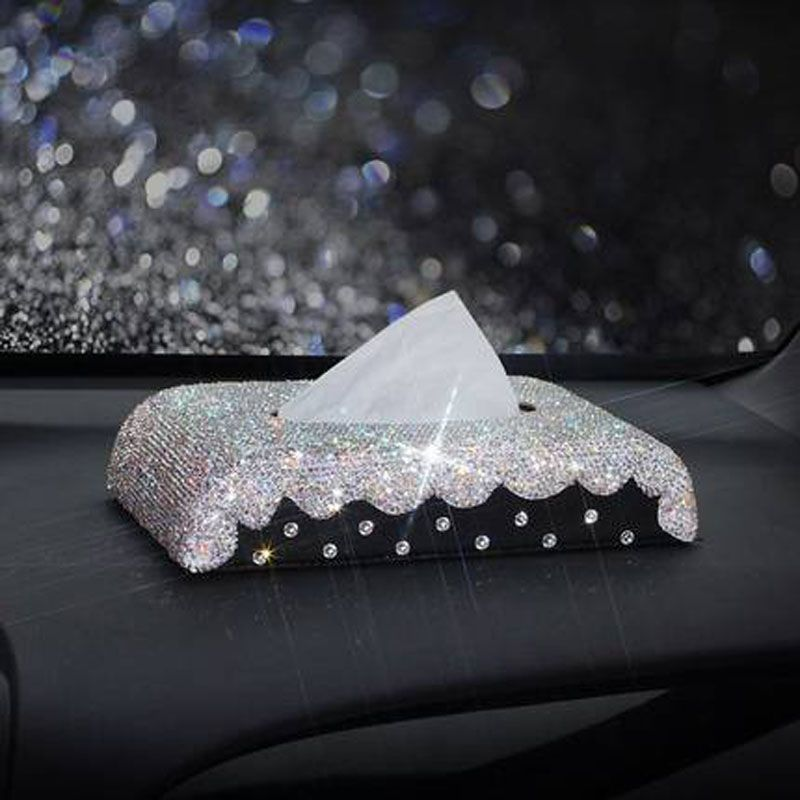 Leather Car Tissue Box Cover Crystal Rhinestone covered Holder Block Paper Storage Car Interior Accessories For Women Girls