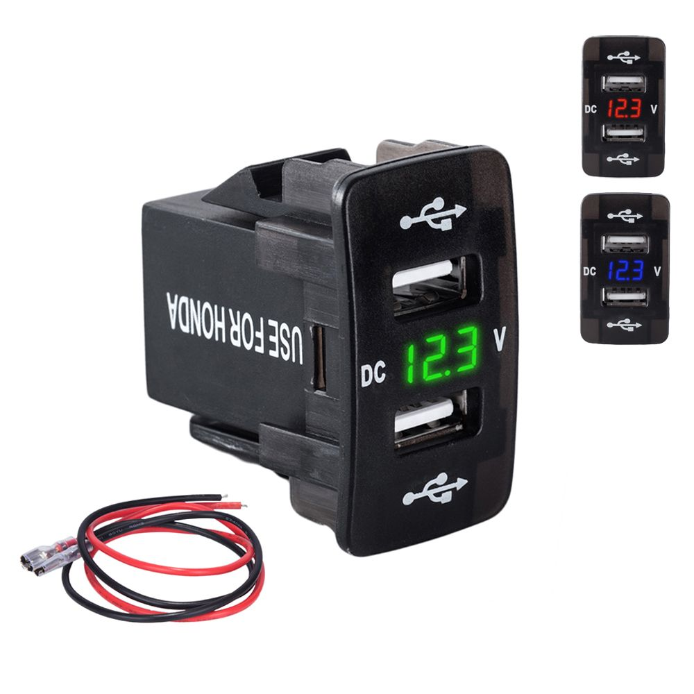DC 12-24 В Dual USB Порты и разъёмы автомобиля Зарядное устройство Авто-прикуриватели разъем Адаптеры питания с светодиодный цифровой вольтметр м...