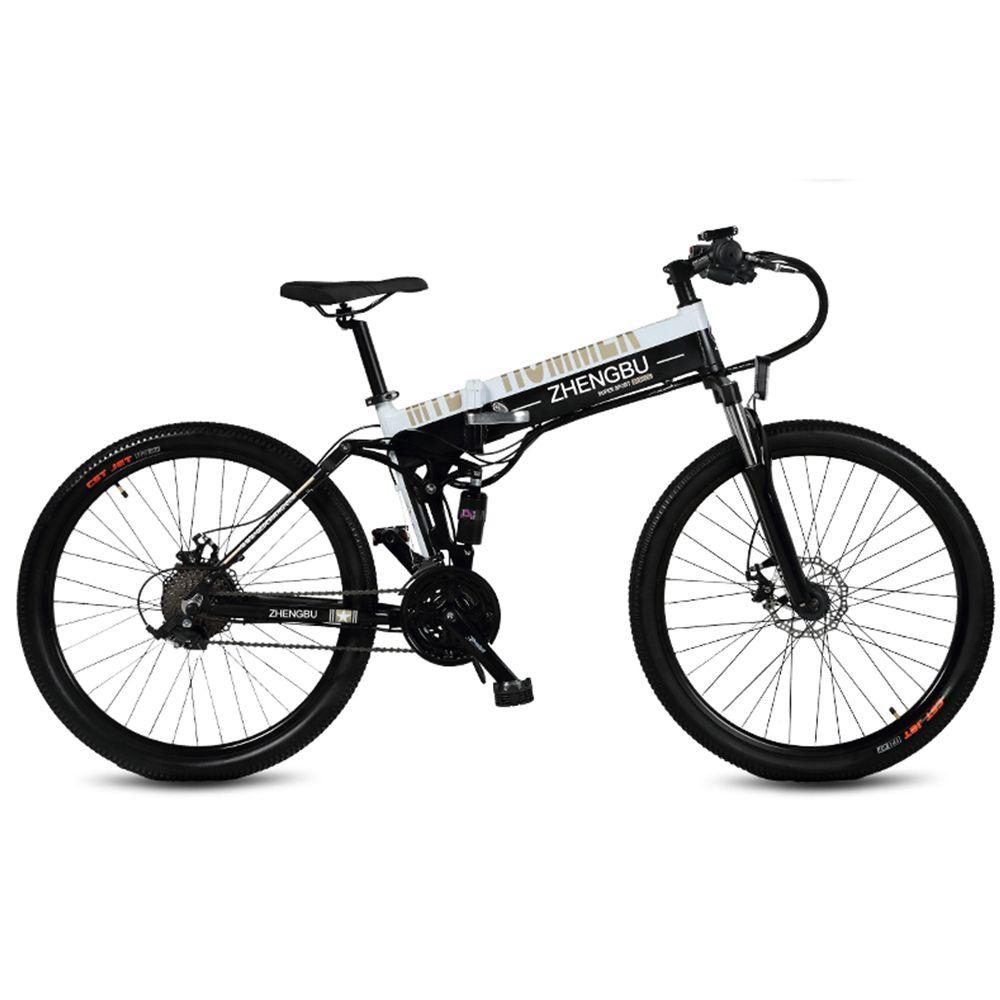 27 geschwindigkeiten, 26 , Klapp Elektrische Fahrrad, 48 V/10A, 240 W, aluminium Legierung Rahmen & Rim, Full Suspension, E Fahrrad, Mountainbike.