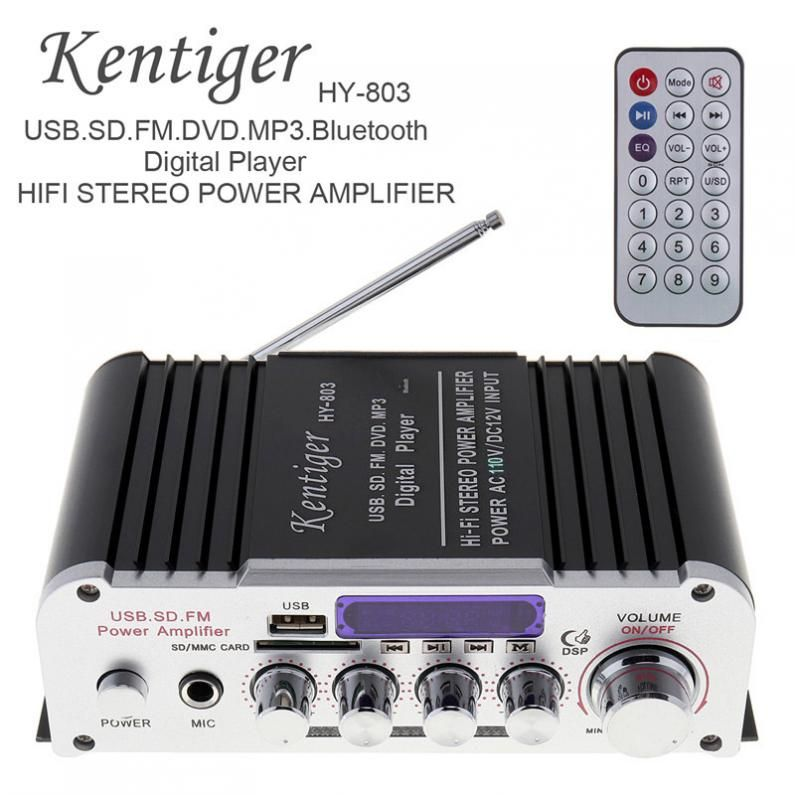 Kentiger 2CH HI-FI Bluetooth Car Audio Power Amplifier FM Radio Player Support SD / USB / DVD /MP3 Input for Car Motorcycle Home