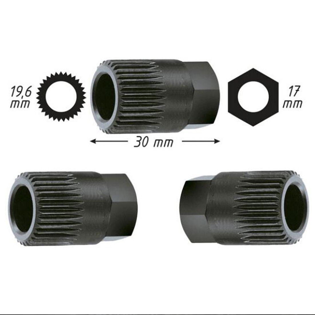 Lichtmaschine Kupplung Freies Riemenscheibe Removal Tool 33 Spline für VW/AUDI/FORD für PEUGEOT 33TxH17