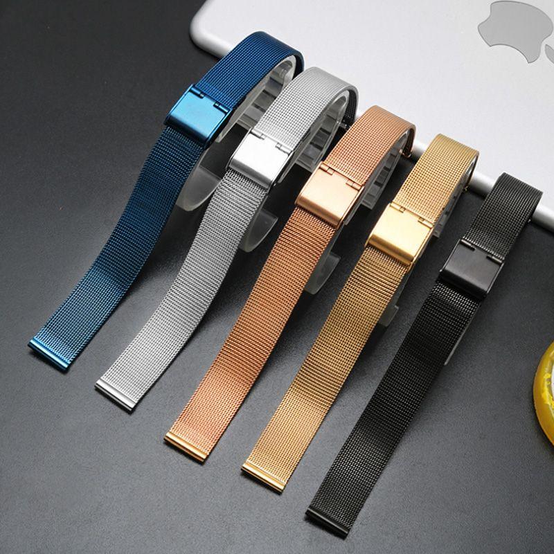 6mm 8 10 12 14 16 18mm 20mm 22mm 24mm Noir Argent bleu ultra-mince En Acier Inoxydable milan Maille Bracelet Bracelets bracelet de montre