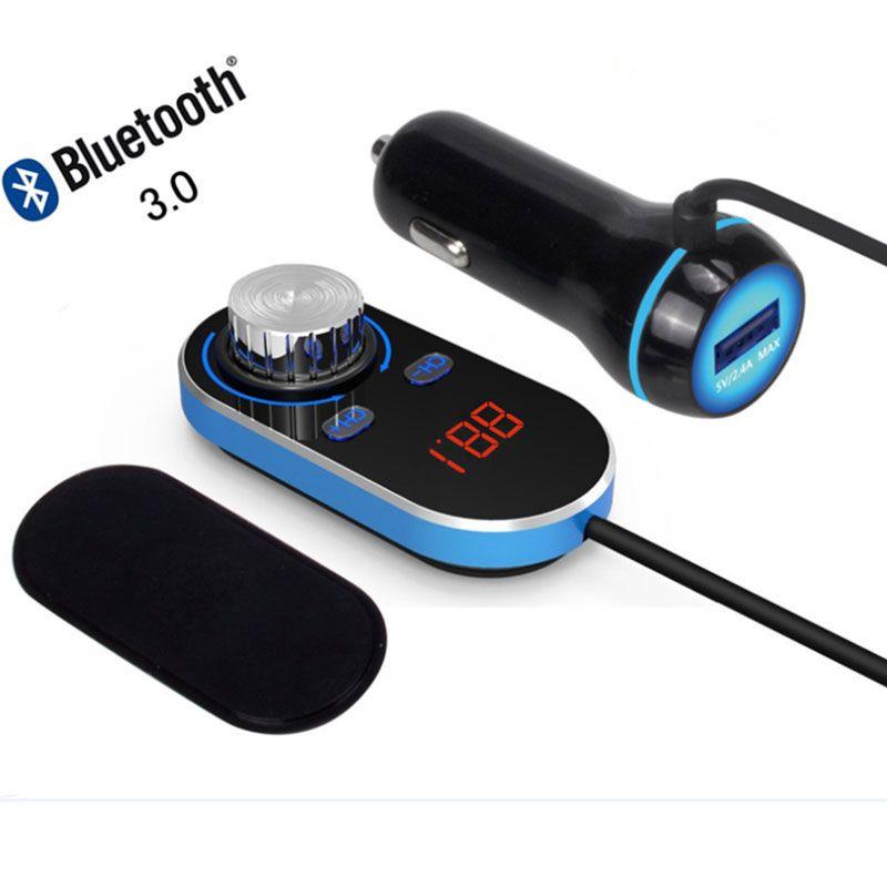 ENKLOV New Bluetooth Handsfree FM Transmitter Car FM Transmitter Car Radio Bluetooth FM Transmitter 5V / 2.4A Output Power ABS