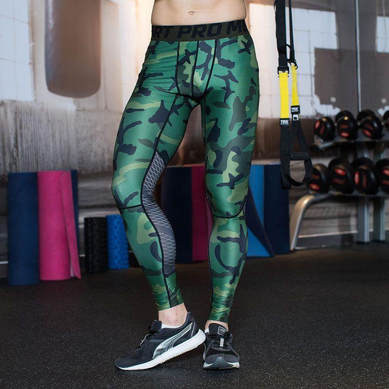 Camuflaje de Los Hombres Medias de Compresión Ropa de Deporte de Lycra Pantalones Flacos Leggings Deportivos Gimnasio Jogging Pantalones Basculador Idoneidad