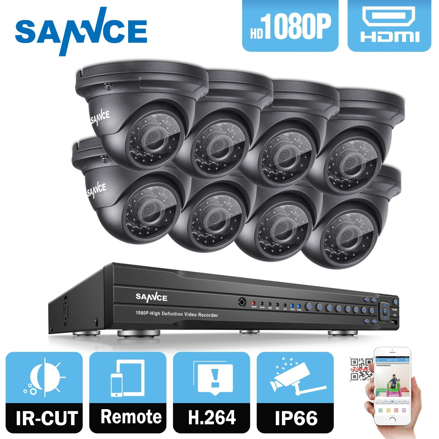 SANNCE 16CH 1080P 2MP CCTV DVR Recorder 8PCS 1080P HD 1920*1080 In/Outdoor Security Dome Camera System & 2TB HDD Onvif