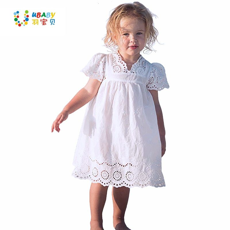 Coton Dentelle Fille Robe Enfants 2017 D'été Nouvelle Brodé Enfants Vêtements Blanc Dentelle Princesse Coréenne Mignon Mince Robe Taille 100-140