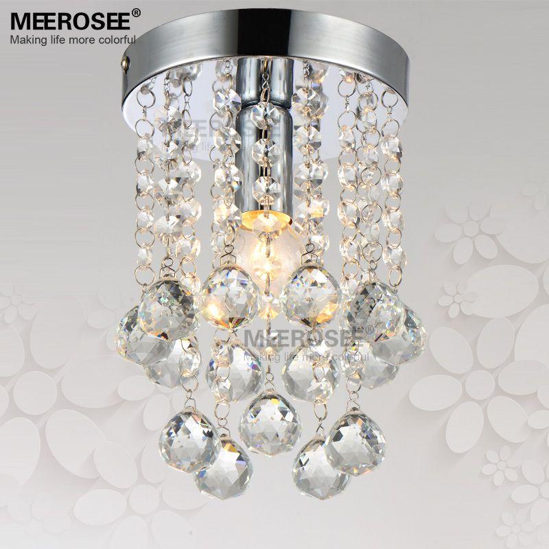 1 light Crystal Chandelier Light Fixture Small Clear Crystal Lustre Lamp for Aisle Stair Hallway corridor porch light