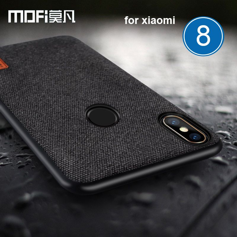 Mofi Case for Xiaomi Mi 8 Fabric Splice Soft Silicone Case Business for Xiaomi Mi8 Phone Bag Luxury Back Cover for Xiaomi M8