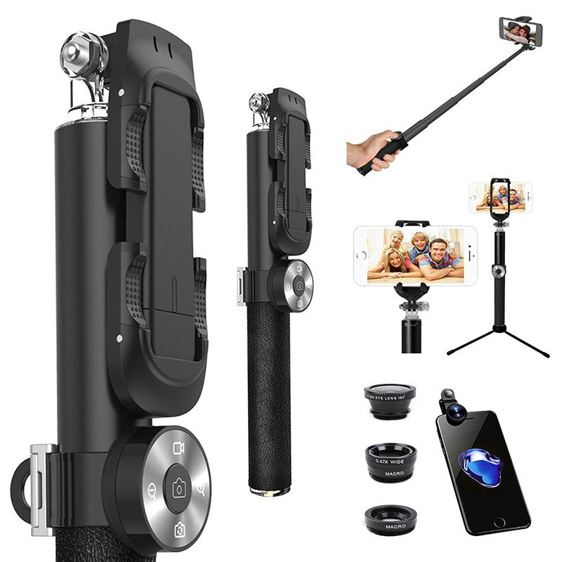 Three Awesome Lens+Extendable Handheld Detachable Remote Wireless Bluetooth Self Portrait Monopod For iPhone X 8 7 6S Plus 5S/Z2