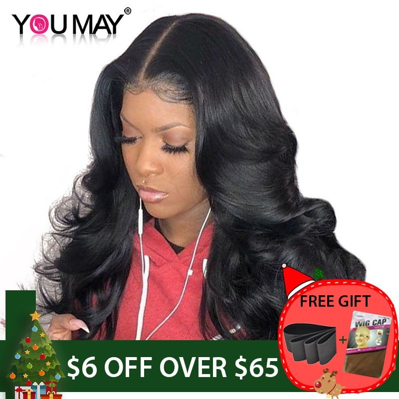13x6 Lace Front <font><b>Human</b></font> Hair Wigs For Women 250% Density Brazilian Body Wave Lace Front Wigs Pre Plucked Non-remy Hair You May
