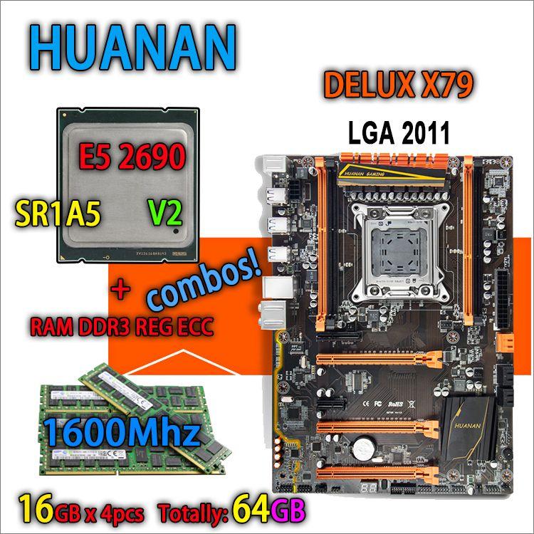 HUANAN golden Deluxe version X79 gaming motherboard LGA 2011 ATX combos E5 2690 V2 SR1A5 4 x 16G 1600MHz 64gb DDR3 RECC Memory